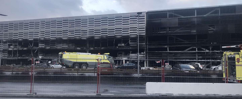 Brann i parkeringshus Stavanger lufthavn
