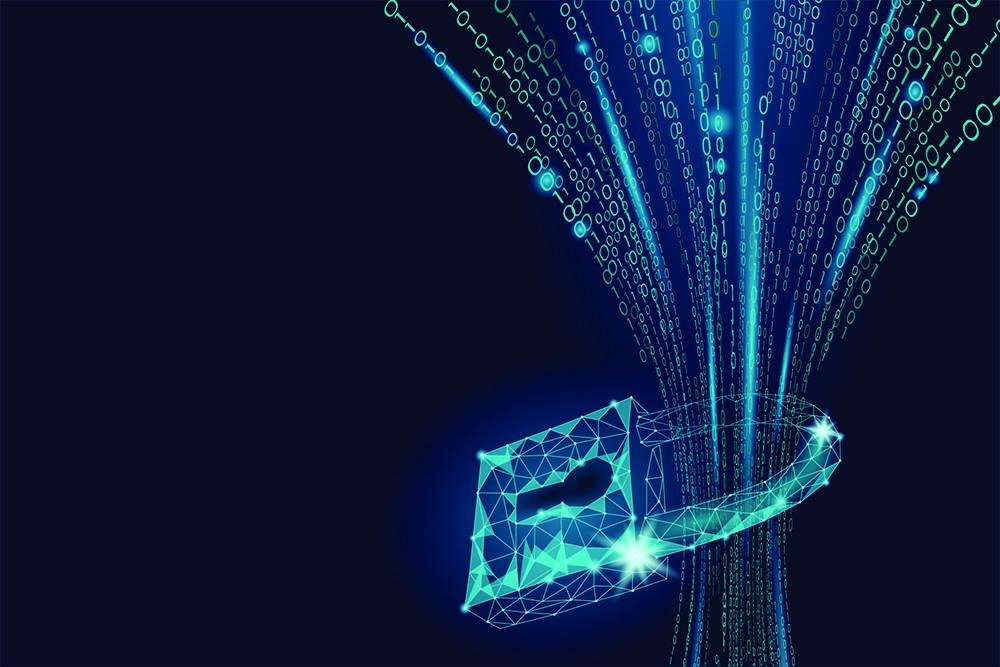 Strøm av digital info gjennom hengelås