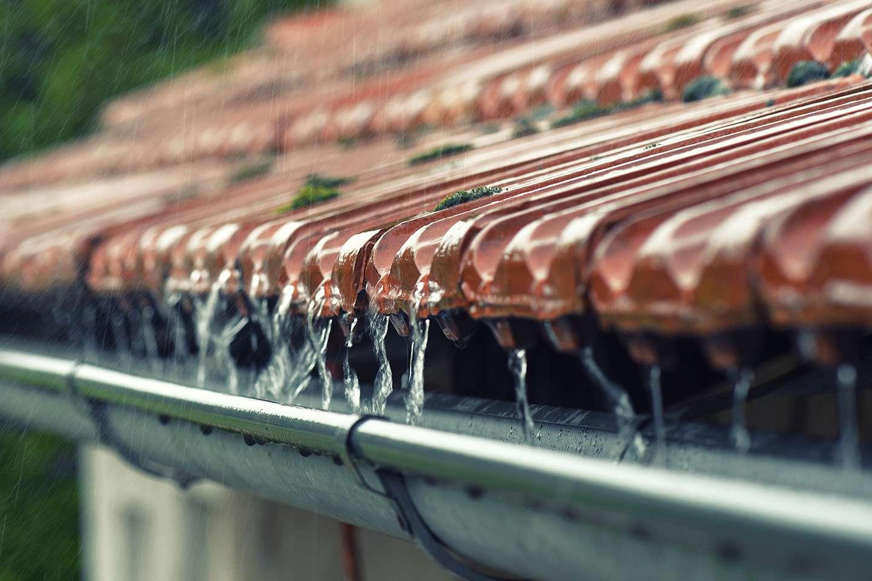 Tak med regnvann ned i takrenne