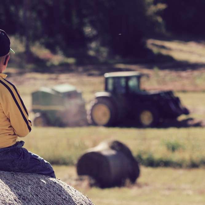 Gutt ser på traktor som er forsikret i Frende