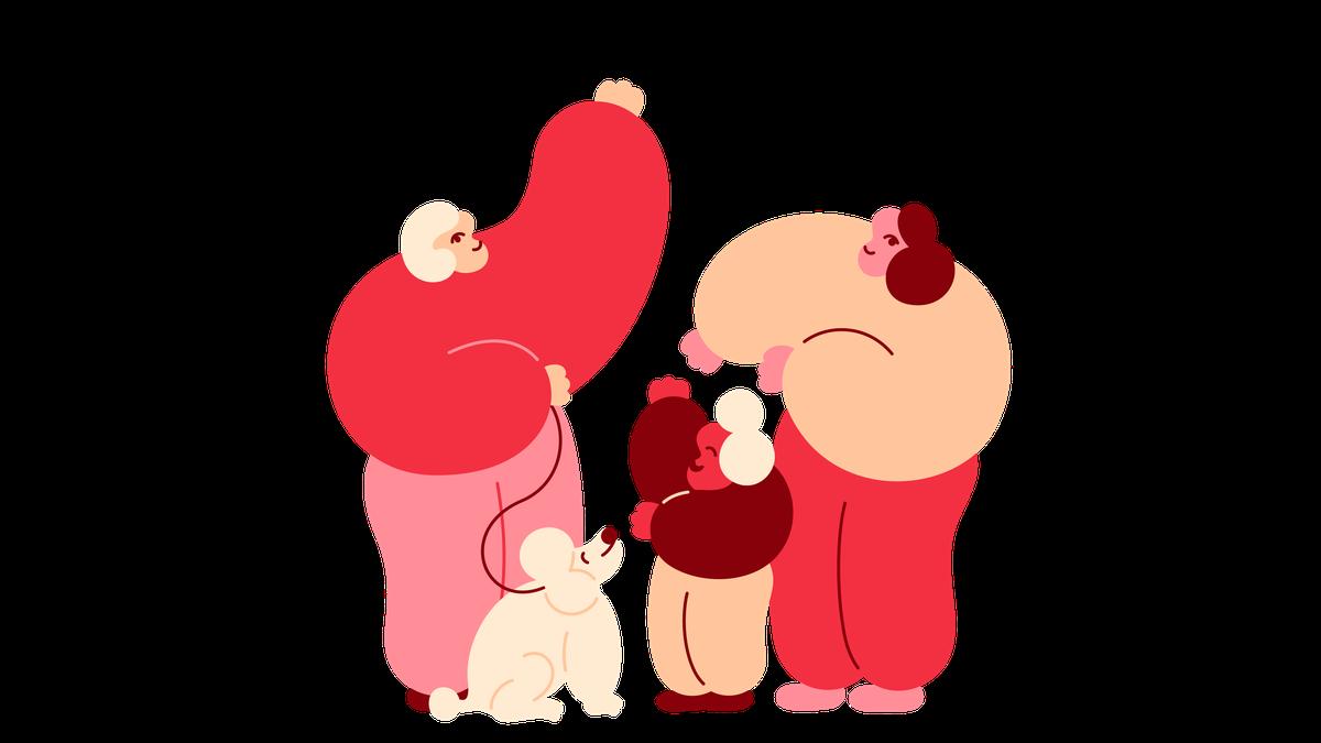 Familie med to voksne, ett barn og en hund. Illustrasjon.