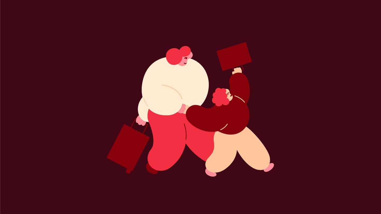 Personer med kofferter. Illustrasjon.