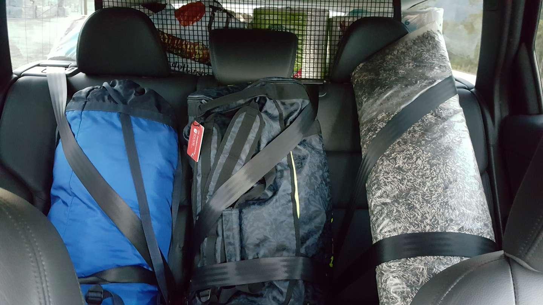 Store bager med sikkerhetssele i bil
